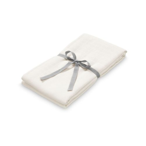 Organic cotton muslin swaddle for nursery creme white
