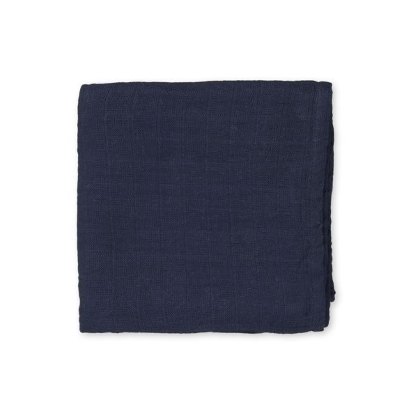 Light organic cotton swaddle in navy blue