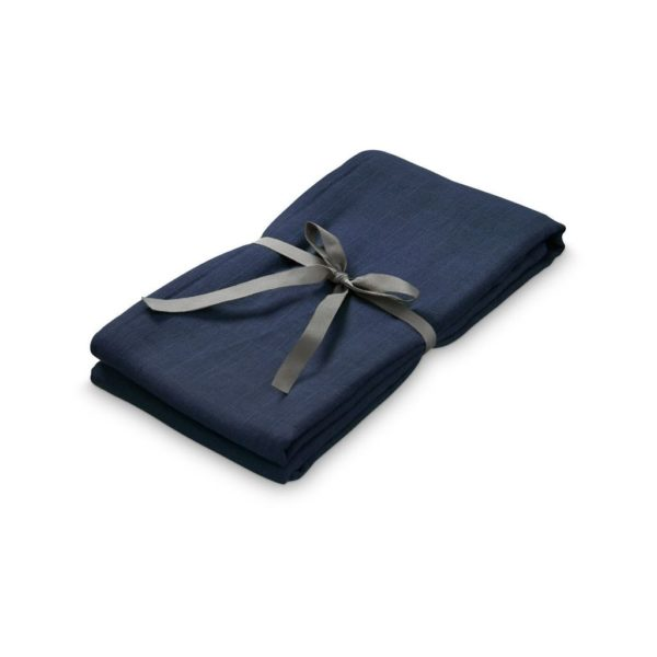 Organic cotton swaddle for baby in navy blue