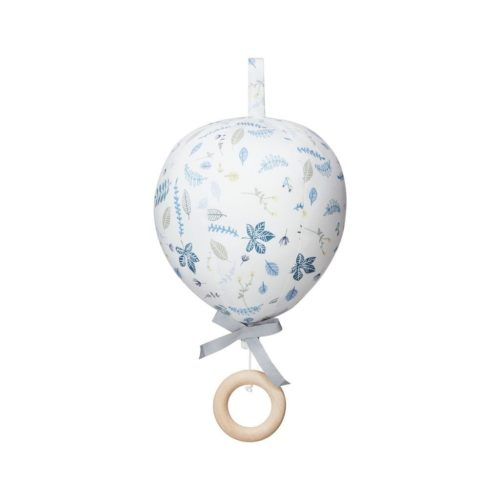 nursery mobile balloon pressed leaves blue
