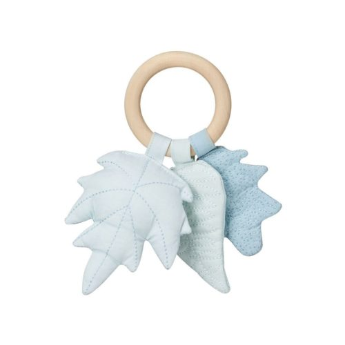 Blue leaves rattle for baby with natural wooden ring