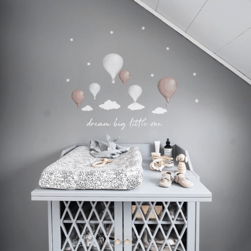 White Dream Big Little One wall decal with balloon and cloud wall stickers in nursery