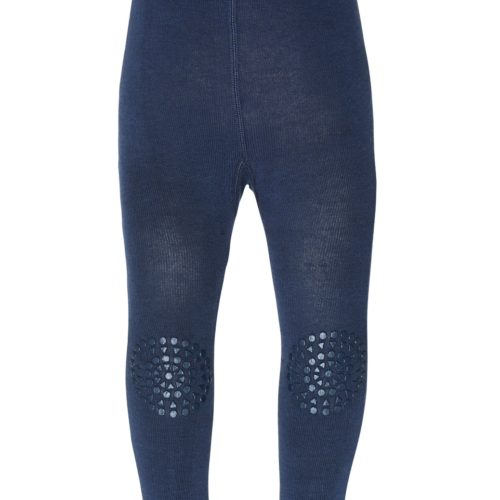 GoBabyGo non-slip traction crawling leggings in petroleum blue