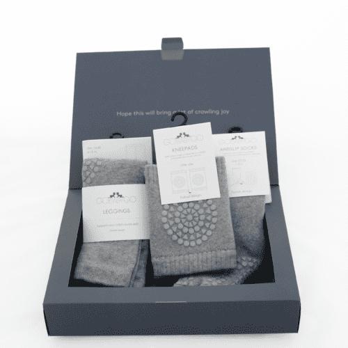 GoBabyGo baby crawling starter kit gift pack in grey melange