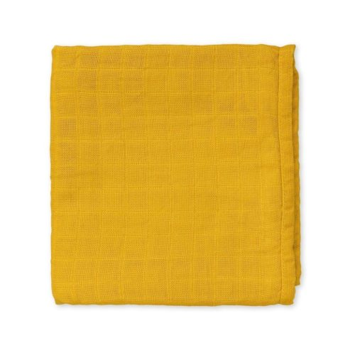 Organic cotton muslin baby cloth for nursery in mustard