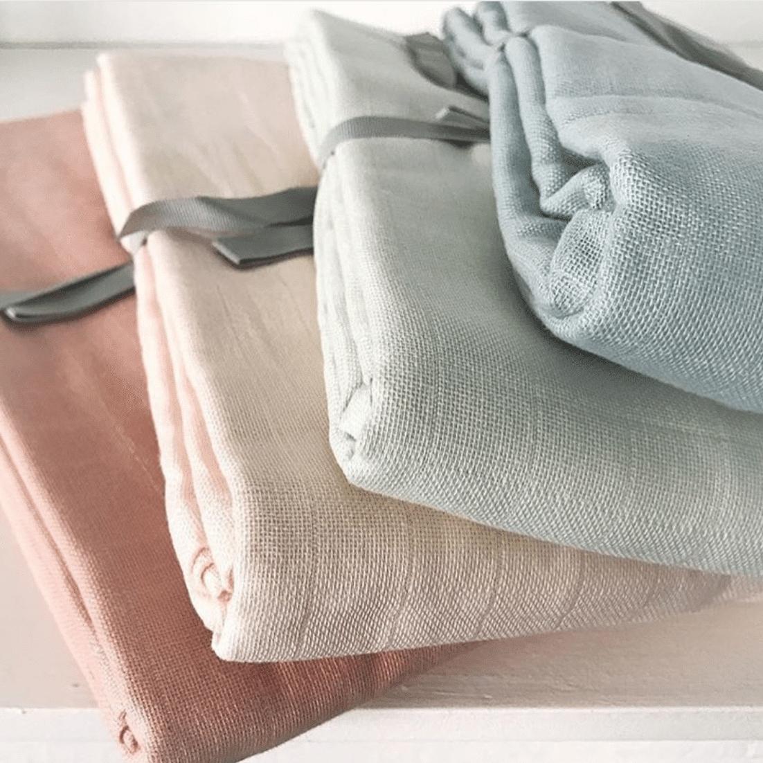 Pack of five organic cotton nursery muslins