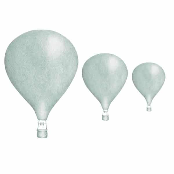 Dusty mint hot air balloon wall sticker set