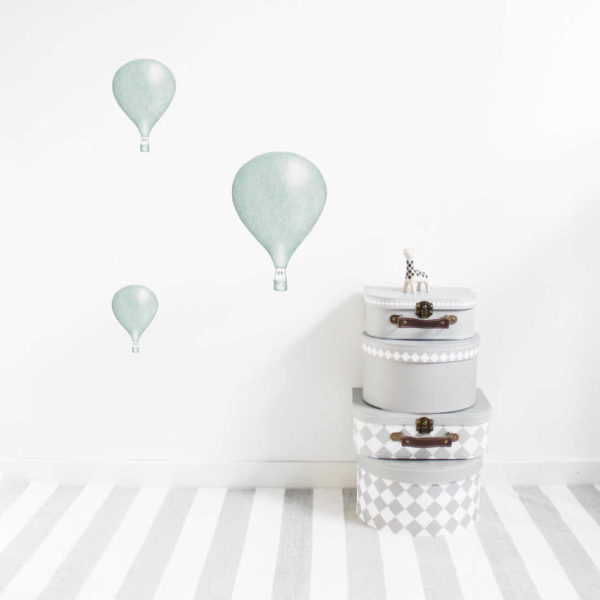 Dusty mint hot air balloon wall stickers in nursery