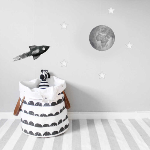 Grey Earth kids' wall sticker in nursery with rocket and star decals