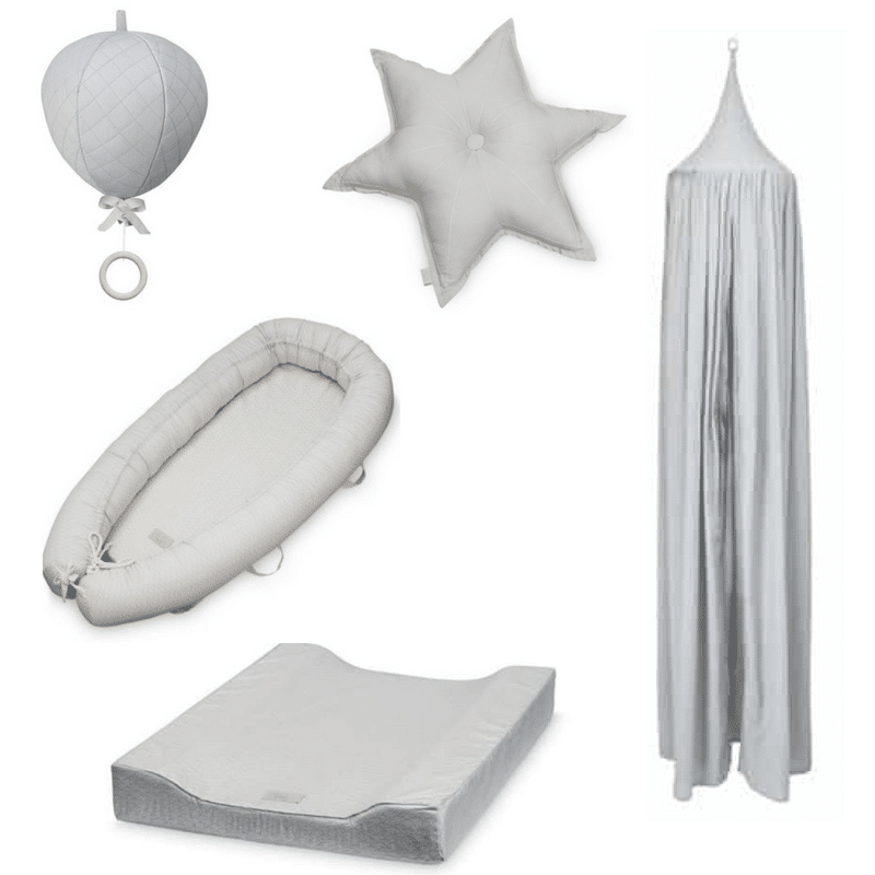 Neutral nursery scheme with dot grey cot canopy star cushion baby nest balloon mobile and changing pad