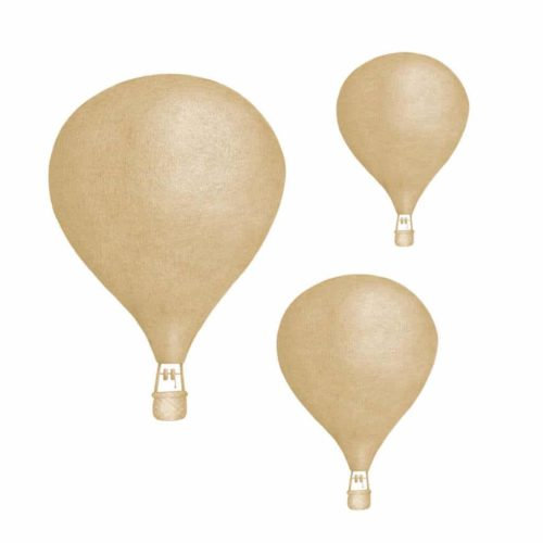 Set of three dusty mustard hot air balloon nursery wall stickers