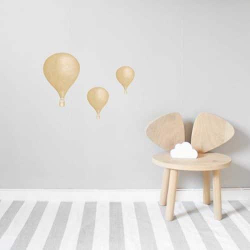Dusty mustard hot air balloon wall stickers on nursery wall