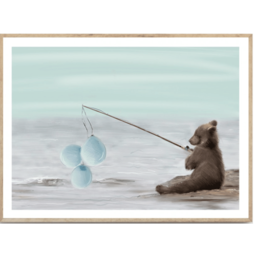 Little Teddy nursery wall art print for kids