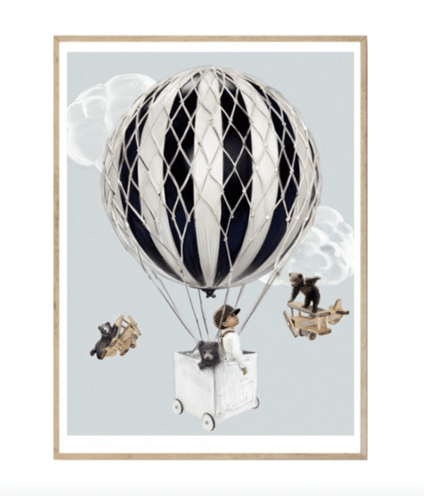 Little Tobias boys bedroom kids art print with hot air balloons and teddy bears
