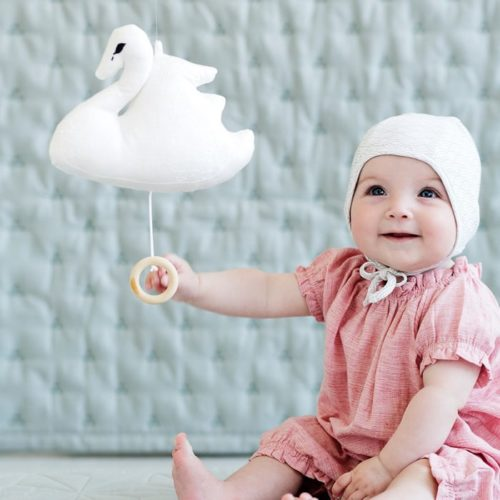 Baby with Cam Cam swan nursery music mobile