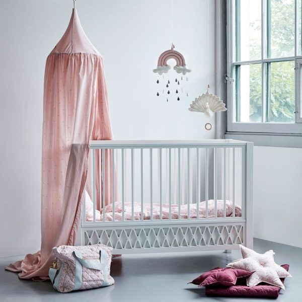 Cam Cam nursery canopy dot blossom pink in nursery with cot and baby mobiles