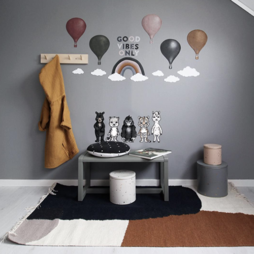 Nursery with hot air balloons clouds rainbow and good vibes only wall stickers for kids bedrooms