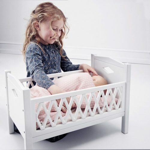 Child with baby doll and Cam Cam Dolls Bed Mattress blossom pink
