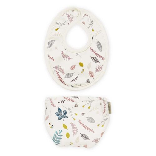 Cam Cam dolls bib and diaper set pressed leaves rose