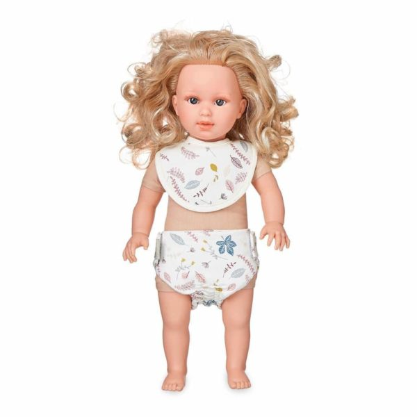 Cam Cam dolls bib and diaper set for baby doll in pressed leaves rose