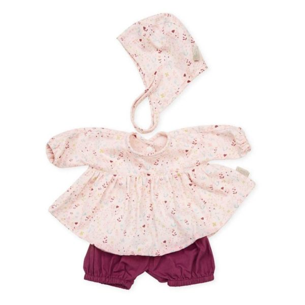 Cam Cam dolls bonnet shirt and shorts for baby doll in fleur pink