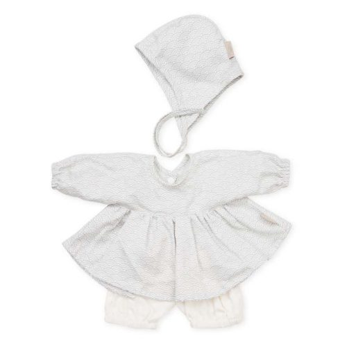 Cam Cam dolls bonnet shirt and shorts for baby doll in grey wave