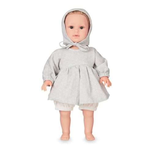 Cam Cam dolls clothing set and bonnet for baby doll in grey wave