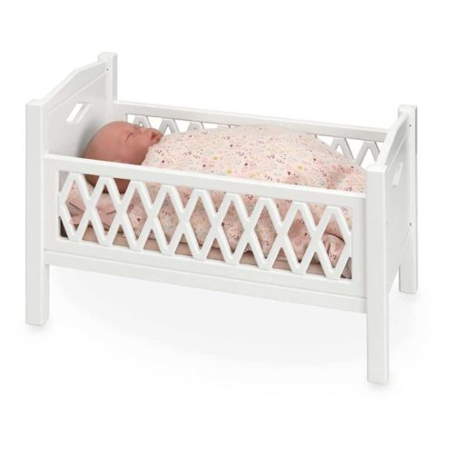 Cam Cam harlequin wooden dolls bed for baby dolls and teddy bears in white