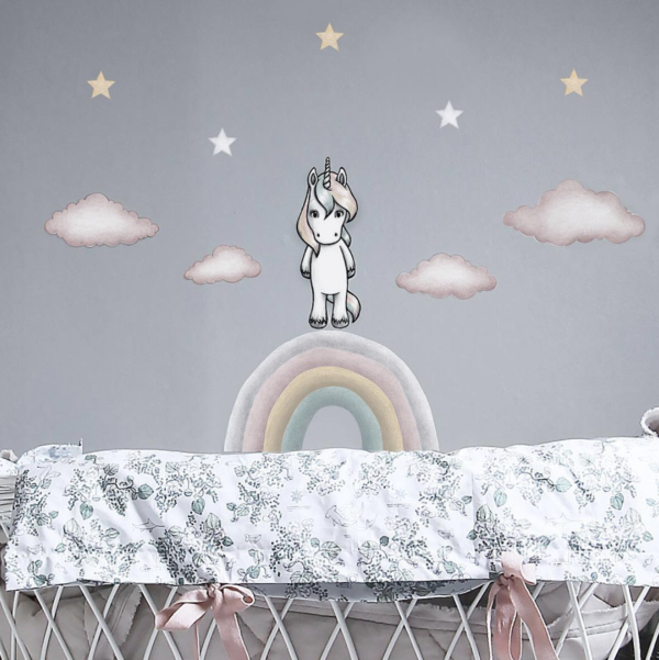 Joy the unicorn and rainbow wall stickers with pink clouds in girls bedroom