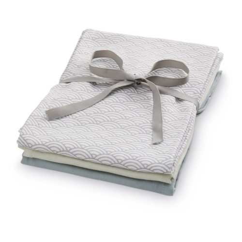 Pack of three Cam Cam organic cotton muslin cloths Grey Wave Petroleum Mint