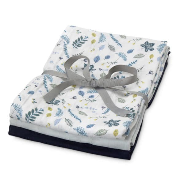 Pack of three Cam Cam organic cotton muslin cloths baby blue