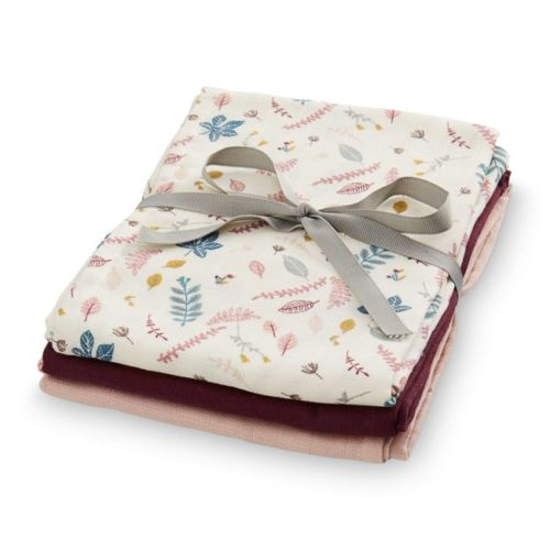 Pack of three Cam Cam organic cotton muslin cloths Pressed Leaves Bordeaux Blossom Pink