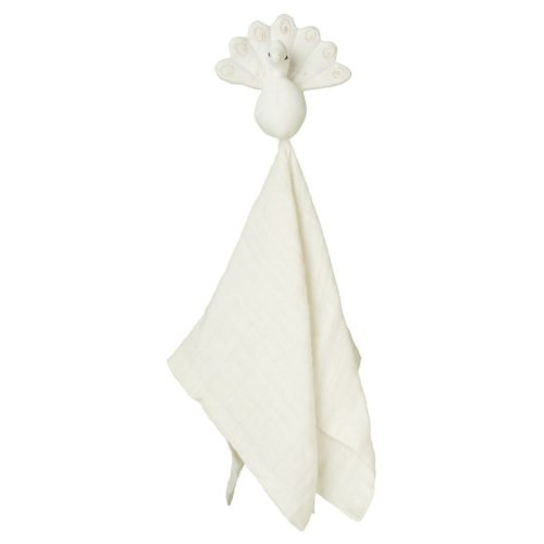 Cam Cam Organic Peacock Cuddle Cloth for baby creme white
