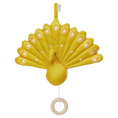 Cam Cam decorative Peacock music nursery mobile for baby mustard yellow