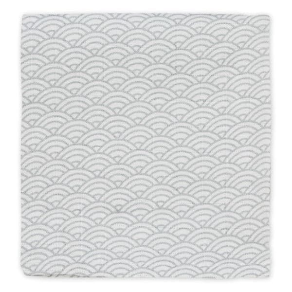 Printed Cam Cam muslin cloth in grey wave
