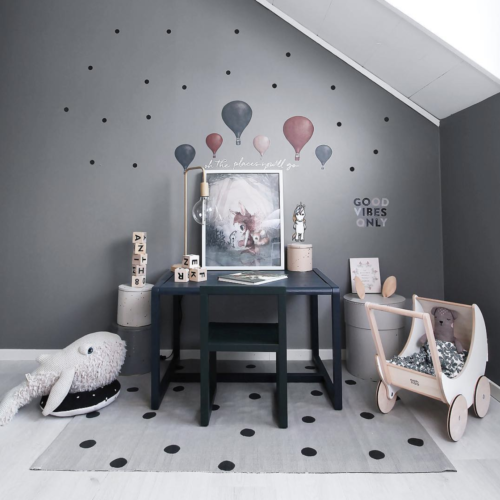 Unicorn balloon and dot wall stickers for kids bedroom decor