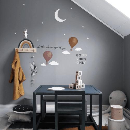 Sky the unicorn and rainbow nursery wall stickers for kids bedroom decor