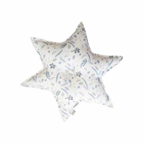 Cam Cam star shaped decorative cushion for nursery pressed leaves blue