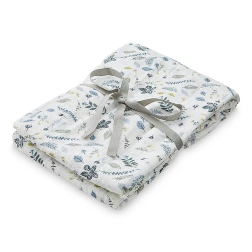 Cam Cam muslin swaddle cloth for babies in pressed leaves blue