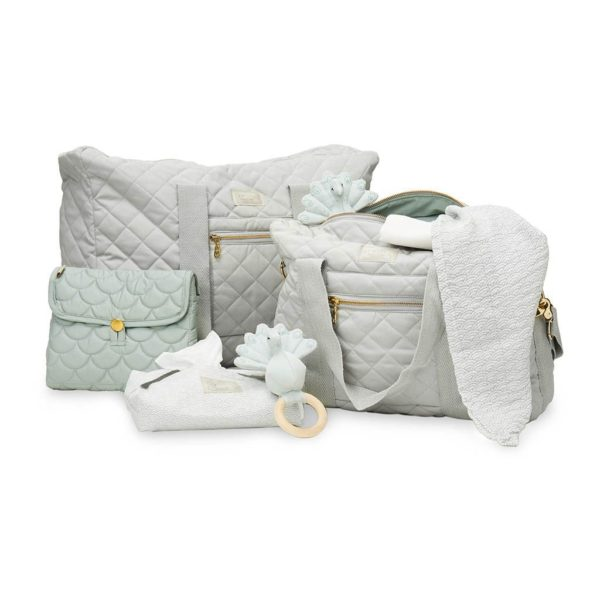 Cam Cam grey wave baby wet wipe cover with matching weekend bag rattle muslin and nappy bag