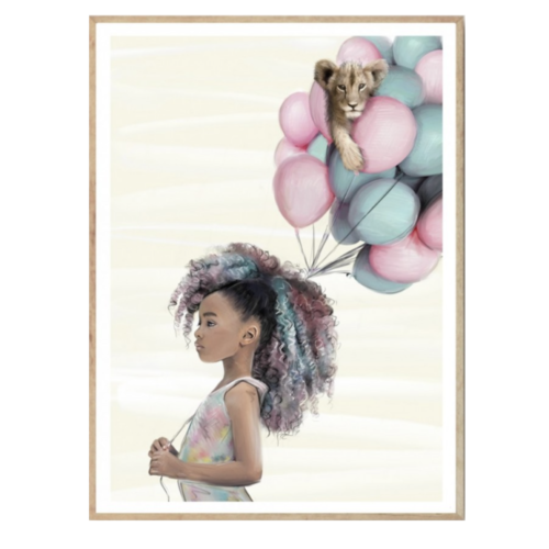 Kids poster with a girl and balloons