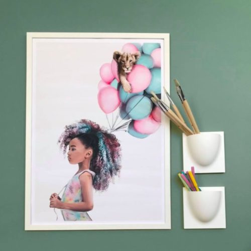 Little Luna poster on a wall - girl with balloons