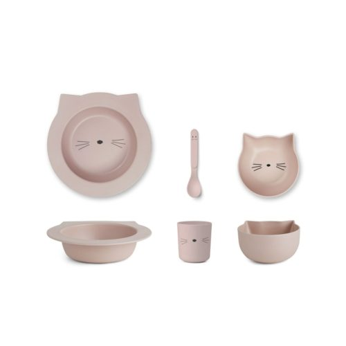 Bamboo Baby Plate Set in Pink - 2 bowls, 1 cup, 1 spoon