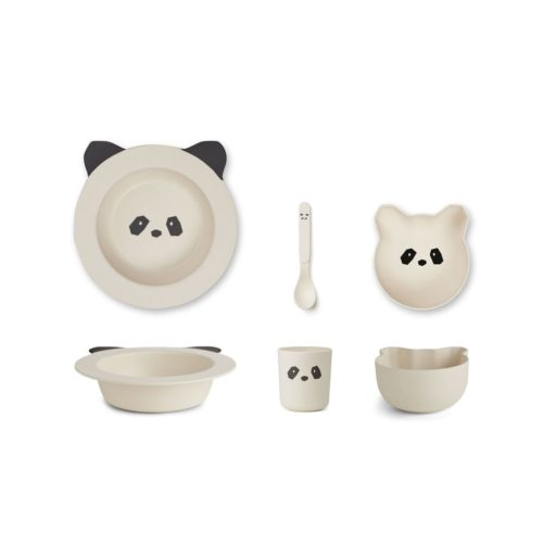 Bamboo Panda Plate Set - bowls, cup, spoon