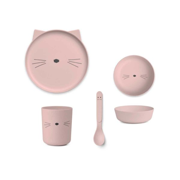 Bamboo plate, bowl, cup, spoon with a pink cat face