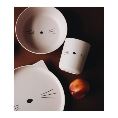 Bamboo kids plate set with a cat face - rose cup, plate and bowl