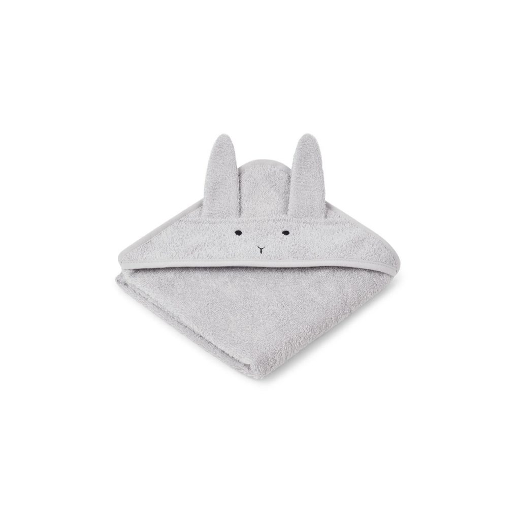 Hooded Baby towel grey bunny with ears