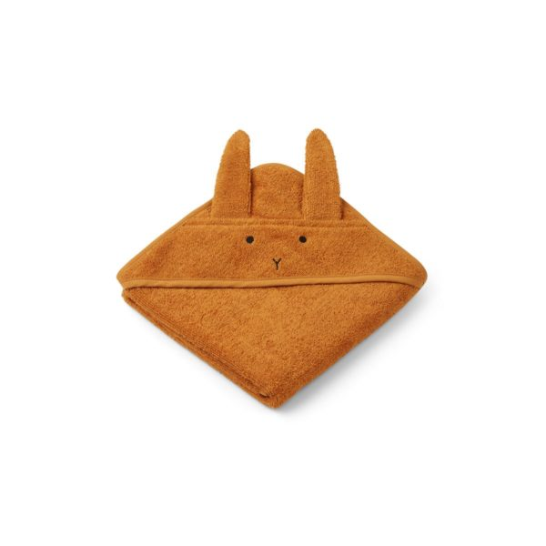 Hooded baby towel with bunny ears in mustard