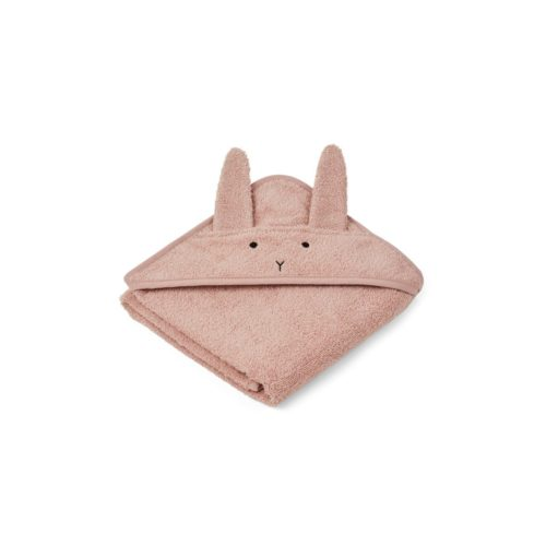 Hooded baby towel with bunny ears in rose
