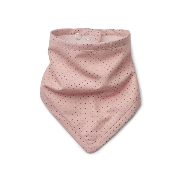 Rose coloured baby bib with black dots